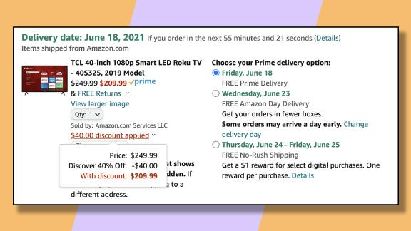 Use the 40% version of the Discover discount to save as much as $40 on this TCL 40-inch TV.