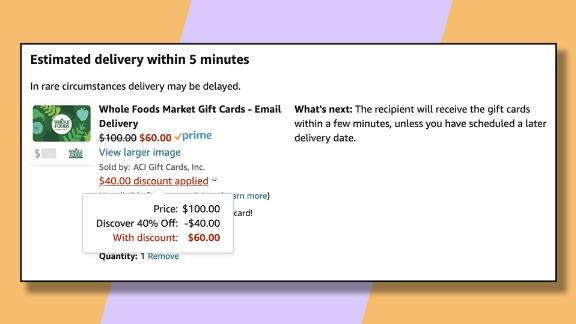 Take as much as $40 off your grocery bill by buying a gift card to Whole Foods and applying the 40% off Discover offer.