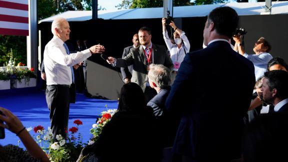 President Joe Biden speaks to the news media following a news conference after meeting with Russian President Vladimir Putin, Wednesday, June 16, 2021, in Geneva, Switzerland.