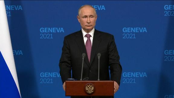 Russian President Vladimir Putin faces questions from reporters after his meeting with US President Joe Biden in Geneva, Switzerland.
