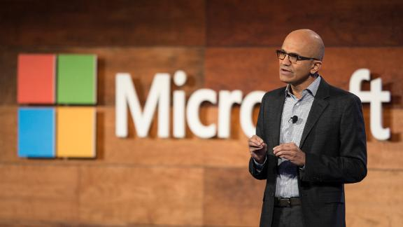 BELLEVUE, WA - NOVEMBER 30: Microsoft CEO Satya Nadella addresses shareholders during the 2016 Microsoft Annual Shareholders Meeting at the Meydenbauer Center November 30, 2016, 2016 in Bellevue, Washington. The company posted $22.3 billion in profits for the 2016 fiscal year. (Photo by Stephen Brashear/Getty Images)