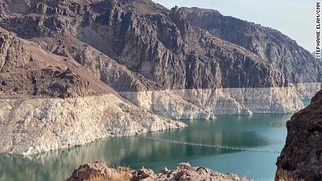 The iconic bathtub ring of Lake Mead shows where the water once reached in the early 80s