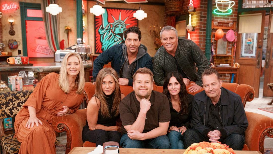 'Friends' cast sings show's theme song with James Corden
