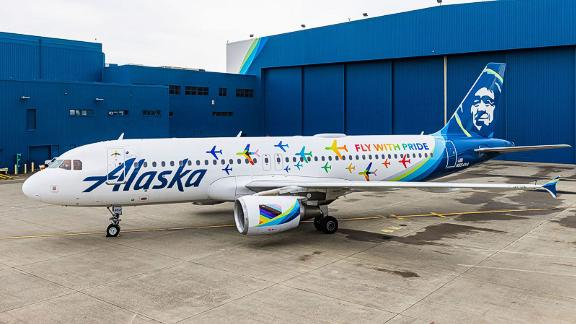 Fly with Pride plane, Alaska Airlines, June 2021. Press handout