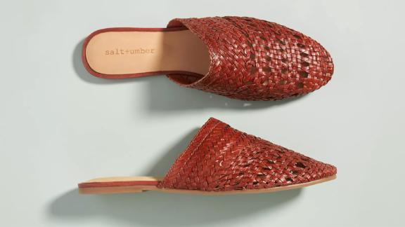 Salt + Umber Woven Leather Slides