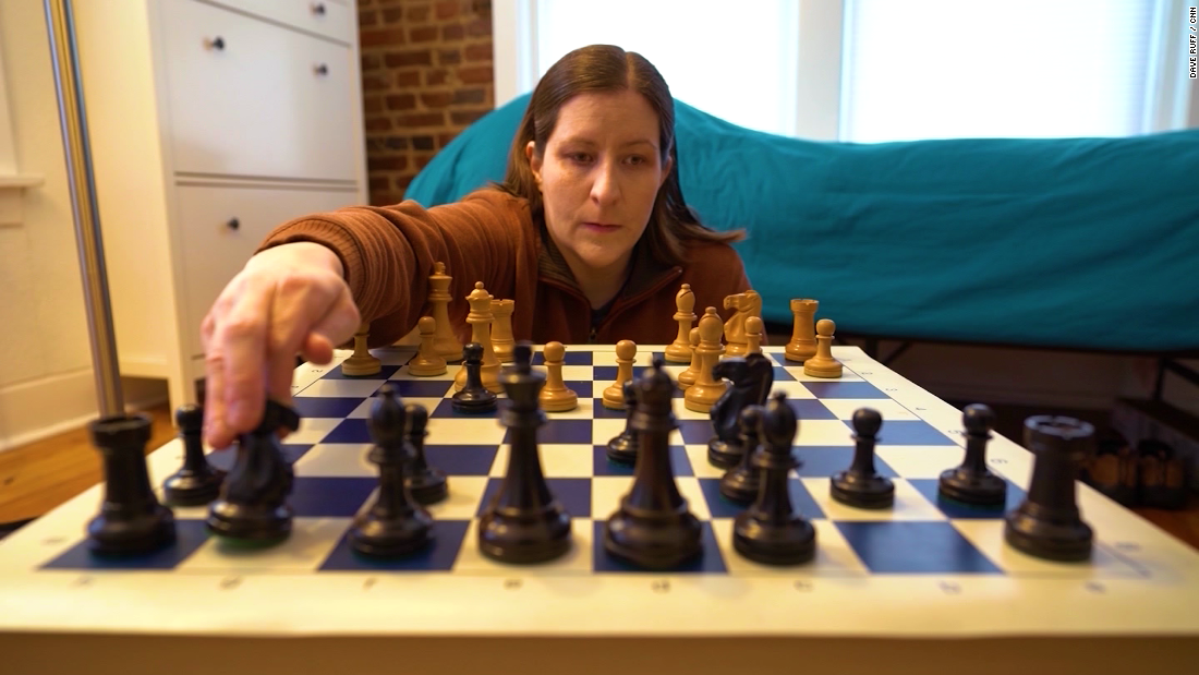 She's a chess champion. And she's blind