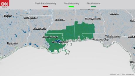 Coastal flood warnings and advisories, flash flood watches along the Gulf Coast