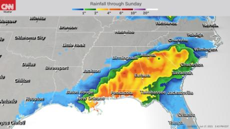 Some areas in the Southeast could see almost foot of rainfall