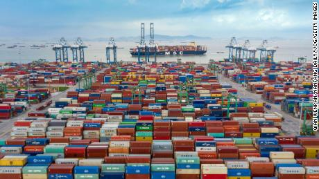 An aerial view of shipping containers stacked at Nansha Port in Guangzhou.