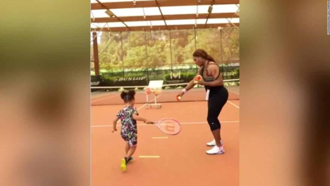 Serena Williams gives daughter tennis lesson in adorable video