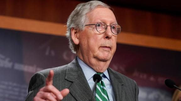 """Senate Minority Leader Mitch McConnell (R-KY) speaks about his opposition to S. 1, the """"For The People Act"""" on June 17, 2021 in Washington, DC."""