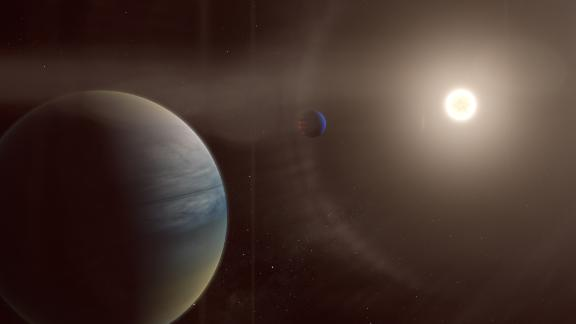 In this artist's rendering, two gaseous planets orbit the bright star HD 152843. These planets were discovered through the citizen science project Planet Hunters TESS, in collaboration with professional scientists.