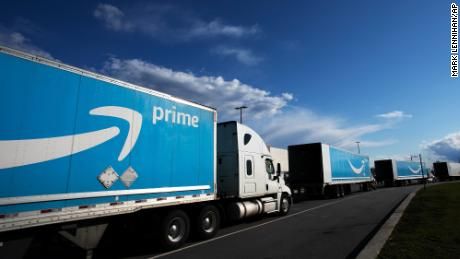 An Amazon tractor trailers line up outside the Amazon Fulfillment Center in the Staten Island borough of New York.  Amazon will hold its annual Prime Day over two days in June this year, the earliest it has ever held the sales event.