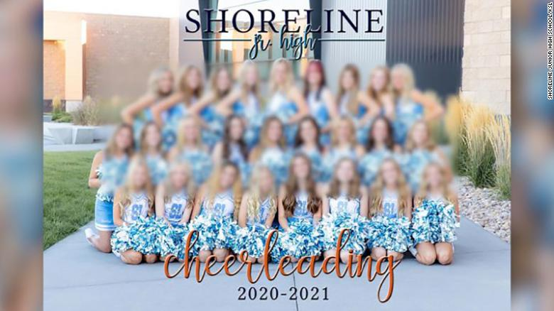 A photo of the cheerleading team without Morgyn was used for the yearbook.  CNN intentionally blurred the image due to the age of the other subjects in the image.