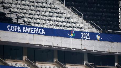 Empty stands as no spectators are allowed due to COVID-19 restrictions during a match at Copa America Brazil 2021 in Rio de Janeiro.