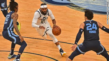 Mike Conley of the Utah Jazz drives to the basket against the Memphis Grizzlies during Game Four of the Western Conference first round series on May 31. Days later, Conley suffered a hamstring injury that left him sidelined for over a week.