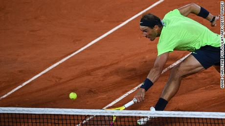 Rafael Nadal during the 2021 French Open. Nadal announced Thursday that he would not play Wimbledon due to the lack of down time after the French Open.
