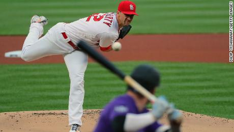 Jack Flaherty of the St. Louis Cardinals delivers a pitch against the Colorado Rockies on May 7, 2021. Flaherty has been sidelined for weeks with an oblique strain.