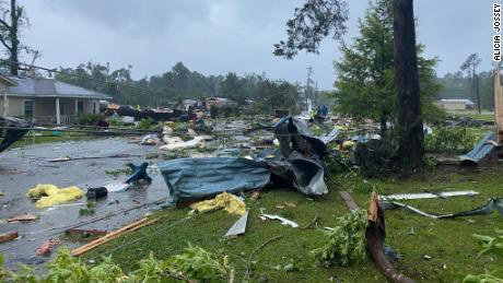 Alicia Jossey shot this photo of storm damage Saturday in East Brewton, Alabama.
