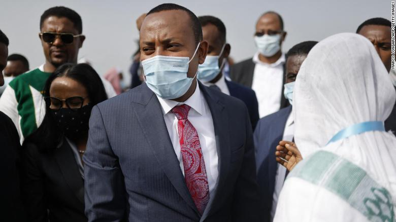 Ethiopian Prime Minister Abiy Ahmed campaigns in Jimma on June 16, 2021.