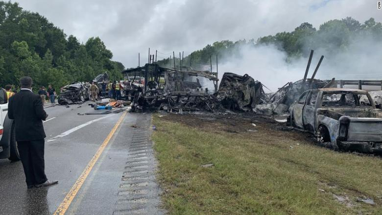 The scene of an accident that claimed the lives of 10 people, including 9 children, in Butler County, Alabama, on Saturday, June 19, 2021.