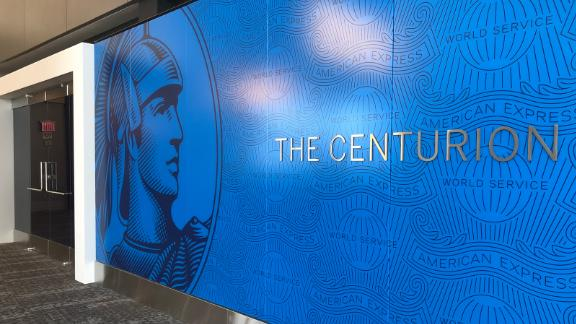 The entrance to the new Amex Centurion Lounge in New York LaGuardia's Terminal B.