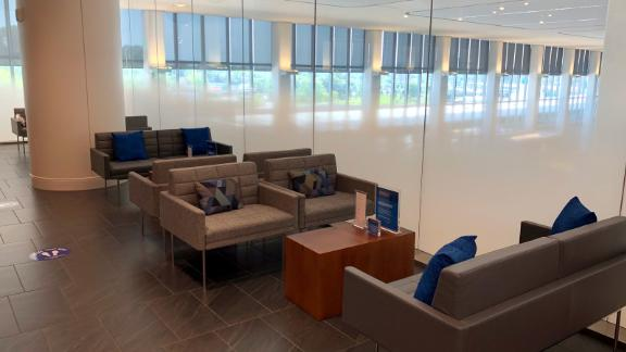 There are plenty of places in the lounge to sit with a view of the terminal below.