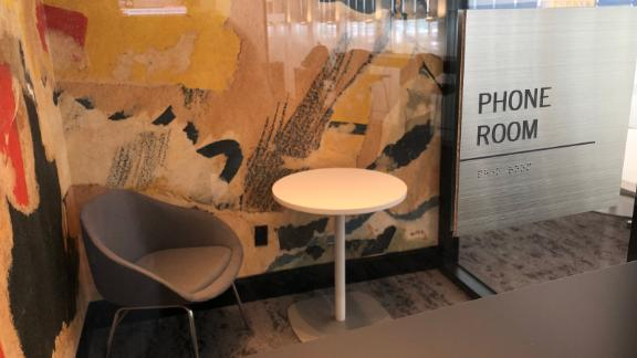 If you need a private place to have a conversation on your cell, grab one of the lounge's two phone rooms.