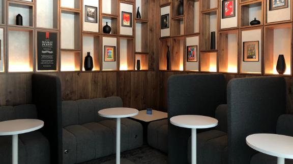 The lounge's study space was designed in partnership with New York City independent bookstore McNally Jackson.