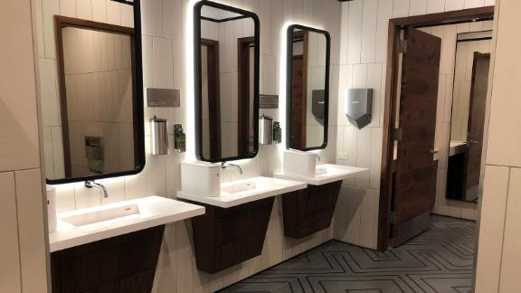 The restrooms in the Amex Centurion Lounge at LaGuardia are centrally located.