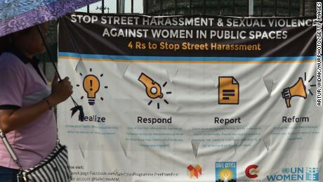 A billboard showing a campaign against street harassment and sexual violence toward women, in Manila, the Philippines, on June 30, 2019.
