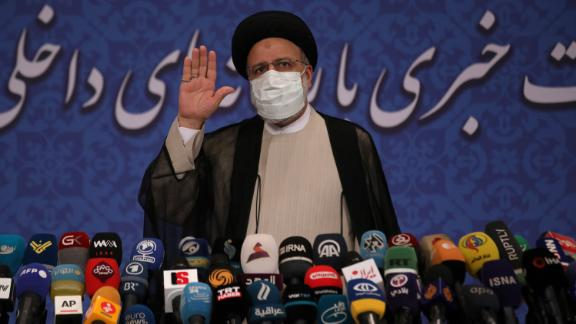 Iran's new President-elect Ebrahim Raisi speaks during a press conference in Tehran, Iran, Monday, June 21, 2021. (AP Photo/Vahid Salemi)
