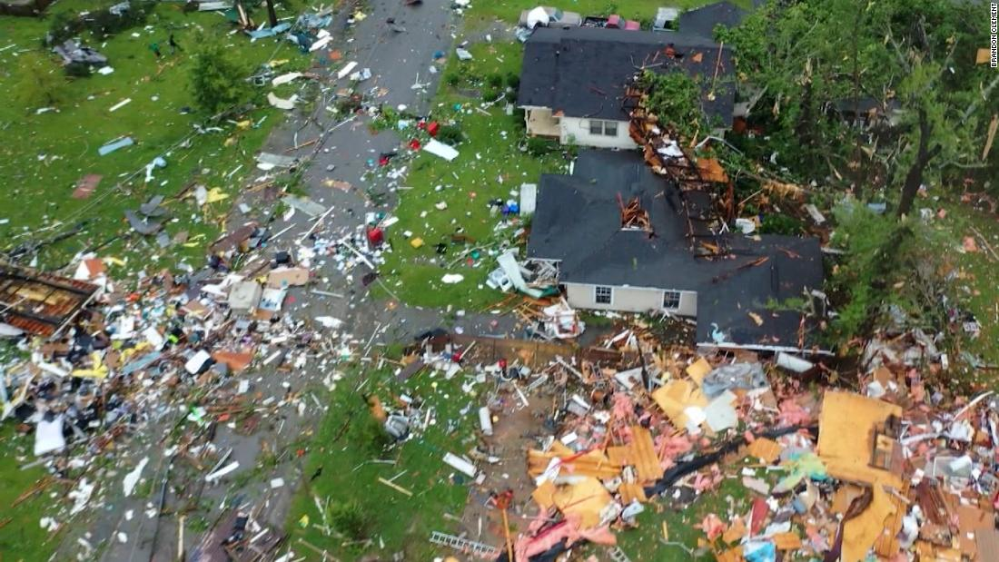 See dramatic aerials of tornado damage
