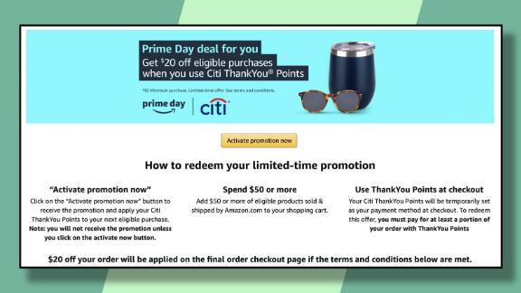 Targeted Citi ThankYou credit card holders can get $20 off at Amazon on a purchase of $50 or more during Prime Day.