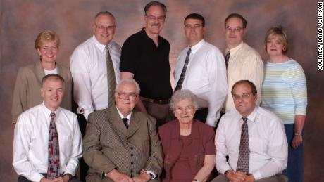 The Johnson family Reunion, July 2003, just two years before the genetic test. Back row: Kathy, Paul, Rand, Rob, Todd and Janice. Front row: Brad, Vere, Winnie, Scott.