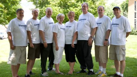 The Johnson siblings in 2009: Rob, Brad, Paul, Kathy, Janice, Rand, Todd and Scott.