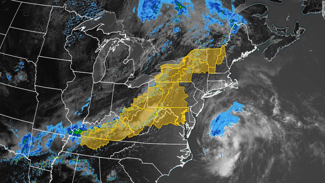 Damaging hail, strong wind gusts and possible tornadoes are likely from Tennessee to Vermont