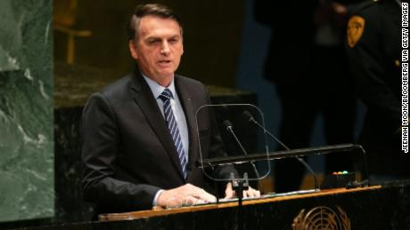 Jair Bolsonaro, Brazil's president, speaks during the UN General Assembly meeting in New York, U.S., on Tuesday, Sept. 24, 2019.