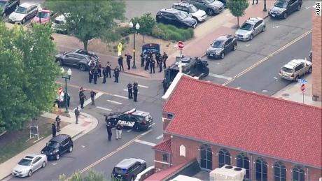 Aerial photo of the scene at Olde Town Square in Arvada, Colorado.