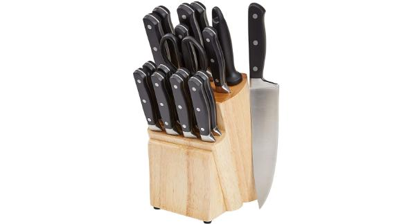 Amazon Basics Premium 18-Piece Kitchen Knife Block Set