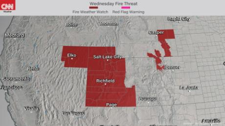 Fire weather watches in effect in the West for Wednesday