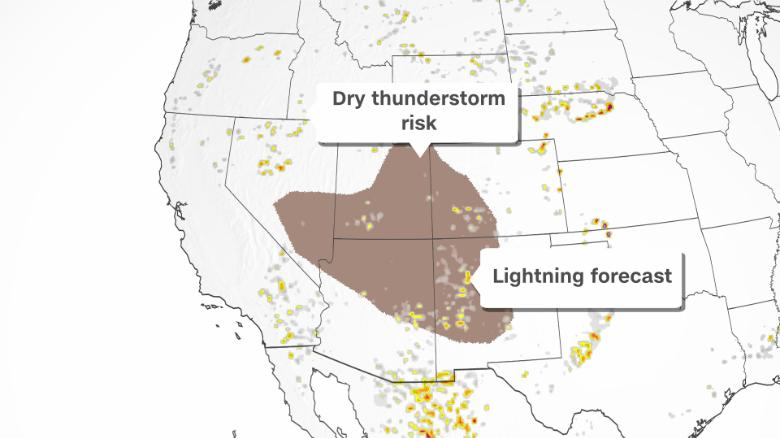 Conditions 'typical of the 1930s Dust Bowl' paired with dry thunderstorms elevate wildfire fears in the Southwest