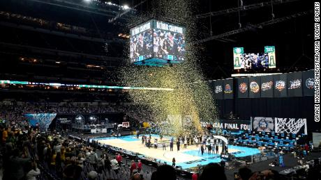 Confetti rains down on the court after Baylor defeated Gonzaga in the championship game of the 2021 NCAA Tournament on April 5.