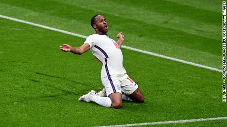 Raheem Sterling celebrates after scoring their team's first goal against Czech Republic.