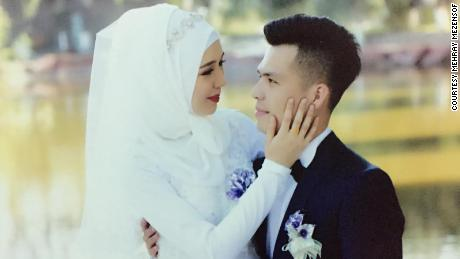 Mehray Mezensof and her husband Mirzat Taher on their wedding day in 2016.