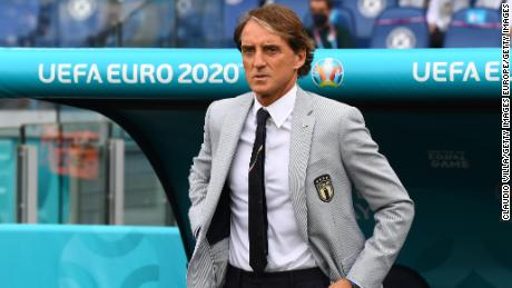 Roberto Mancini has lit up the Euros with his Giorgio Armani suit.