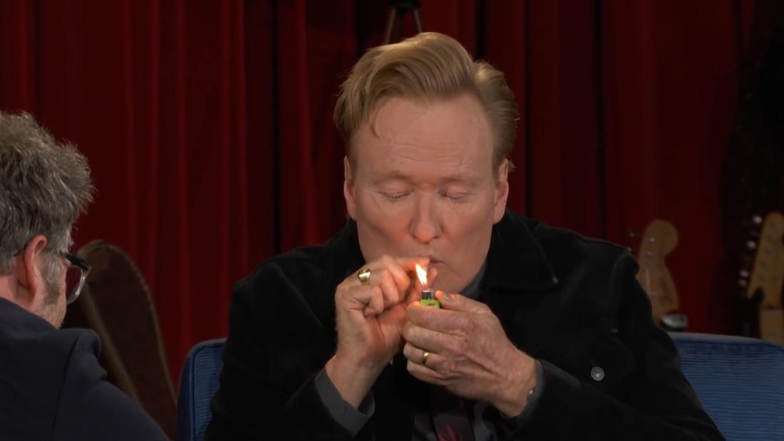 Watch Conan O'Brien smoke weed on-air