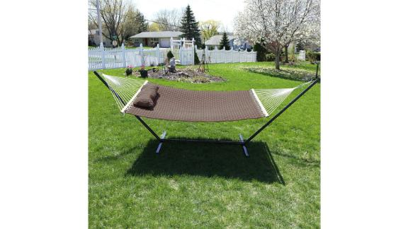 Arlmont & Co. Hammons Quilted Double Hammock with Stand