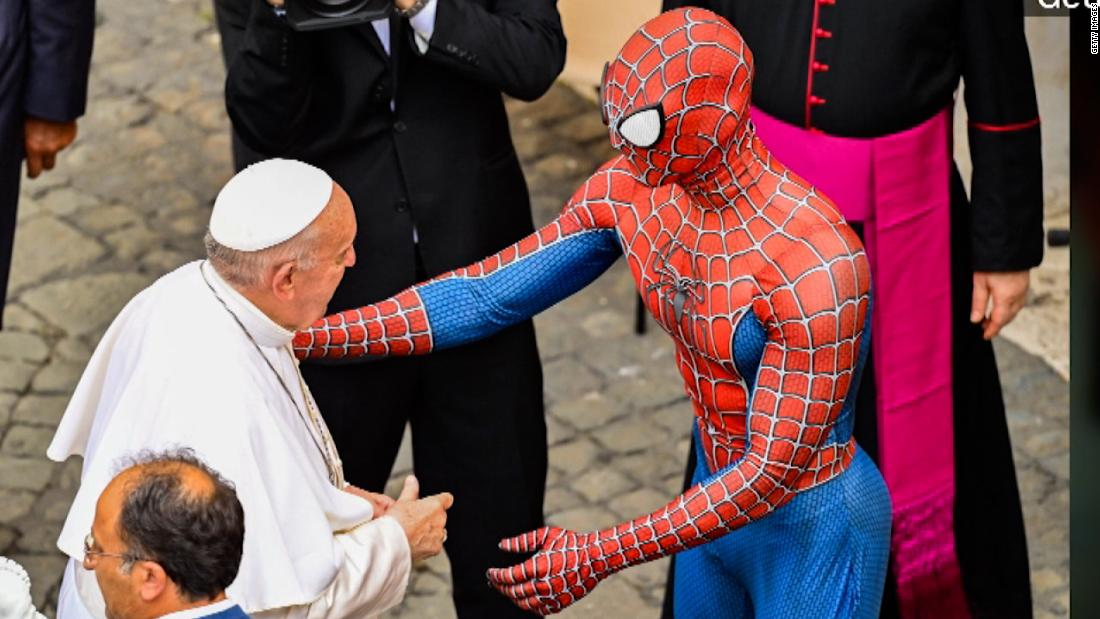 Pope Francis shakes hands with Spider-Man