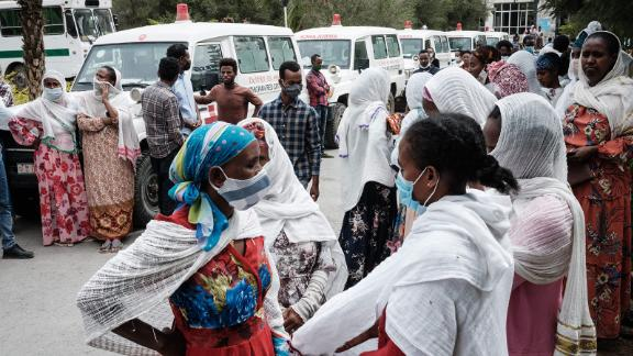 Relatives of Togoga residents wait for information at a hospital in Mekele, Tigray's regional capital, on Wednesday.